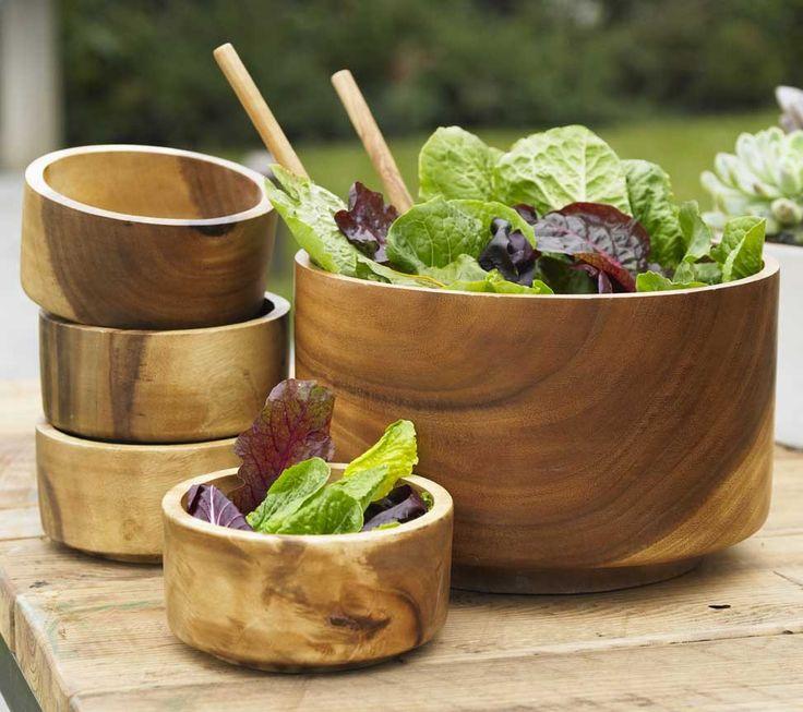 wooden salad bowl set