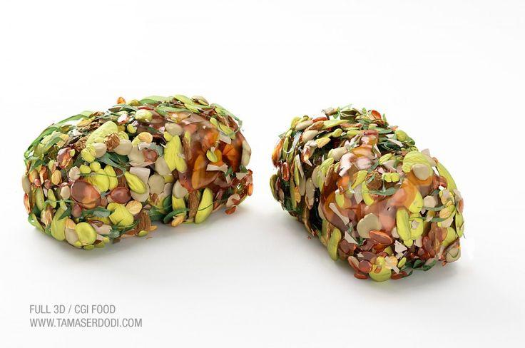 3D / CGI Snackfood Visualisation   http://tamaserdodi.com #3D #food #render #raw #spinach #lemon #kale #peanuts