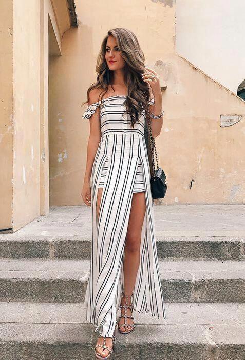 Sexy Striped Halter Dress Striped Flying Stripe Irregular Long Beach Dress No reviews
