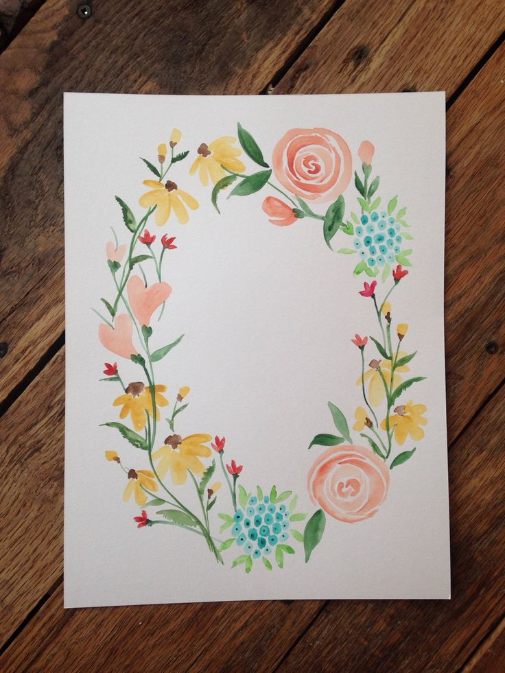 Original watercolor floral wreath with hand scripted quotes