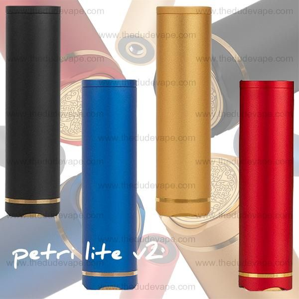 Petri Lite V2 Mech Mod by dotmod Product Features: 22mm Diameter Hard Hitting Innovative Naval Brass/Anodized Aluminum Composite Button Design Precision Anodized Aluminum Tube and Body 24K Gold-Plated Threading and Accents 24K Gold-Plated Copper Contacts Hybrid Connection Fully Masked Internals No Cleaning needed, Ever Precision Micro-Engravings Beautiful Color Finishes Serialized Includes: 1x Petri Lite V2 Mech Mod by dotmod 1x Gold Glass Finished frictionfit drip tip 1x Hex K