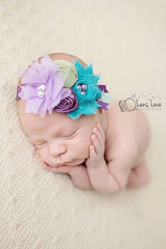 Lavender, Turquoise and Green headband, purple flower headbands, lilac headbands, baby headbands, newborn headbands, photography prop