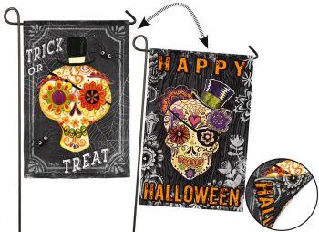 Chalk Skull Halloween Garden Flag  12.5 x 18