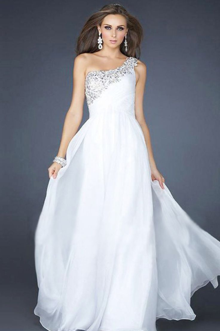 2013 Prom Dresses A Line Floor Length White One Shoulder Chiffon Beading/Sequins