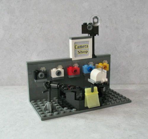 Custom Lego Camera Shop 4 Minifigs RARE Store Cash Register Miniature Tripod New | eBay