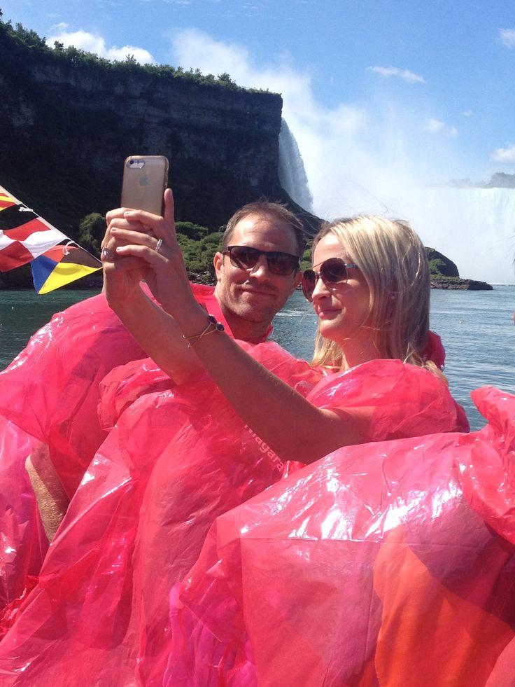 Retired Montreal Canadien Defenseman, Mike Weaver and wife Rhianna visiting Hornblower Niagara Cruises in August 2015 filming #HockeyWives #NiagaraCruises #NiagaraFalls http://bit.ly/1Nnc9Yh