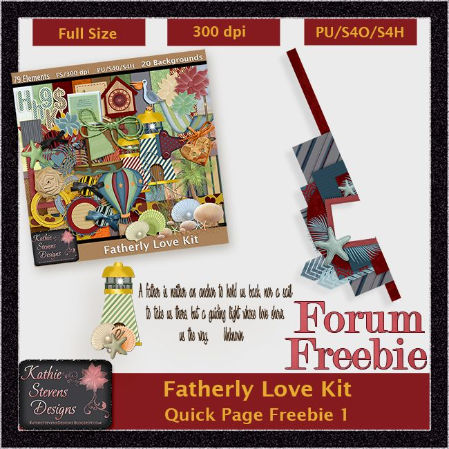 Fatherly Love Border Cluster and Word Art Freebies - KittenScraps & Friends Forum by Kathie Stevens Designs