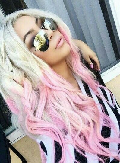 @evatornado pink ombre blonde hair