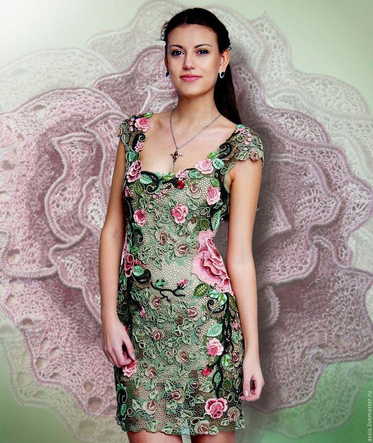 """Купить Платье """"Эдем"""" - комбинированный, цветочный, вязанное платье, кружево ручной работы, ирландское кружево"""
