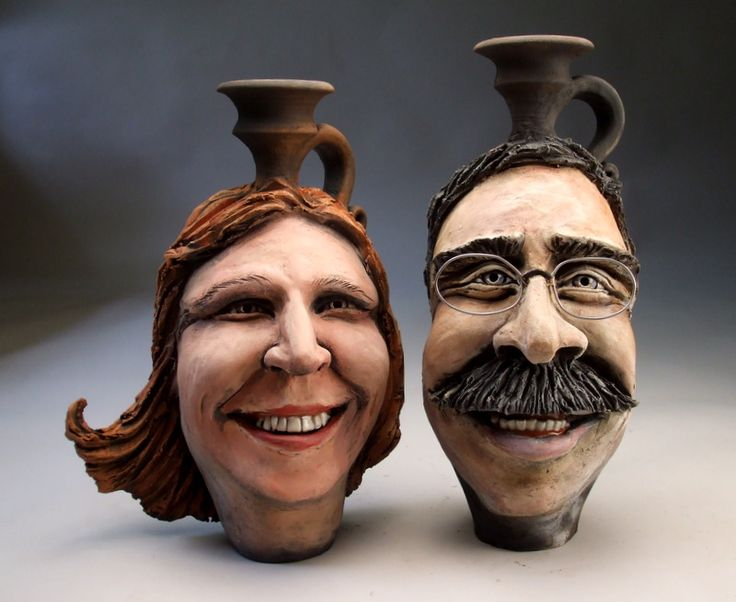 Expressive Face Vase assignment for high school based on Mitchell Grafton's pottery - advanced ceramics classes as well as second semester first year ceramics.