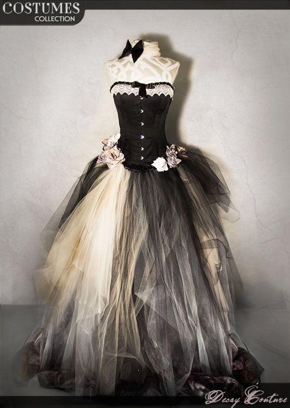 Abito da sposa con CORSETTO VITTORIANO neri, abito da cerimonia con corsetto vittoriano in taffettà, gonna in tulle e rose in diversi colori