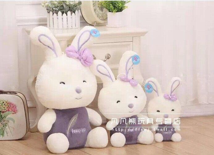 Животных 35 см милый кролик плюшевые игрушки бросок забавный идол кролик кукла подарок w3616