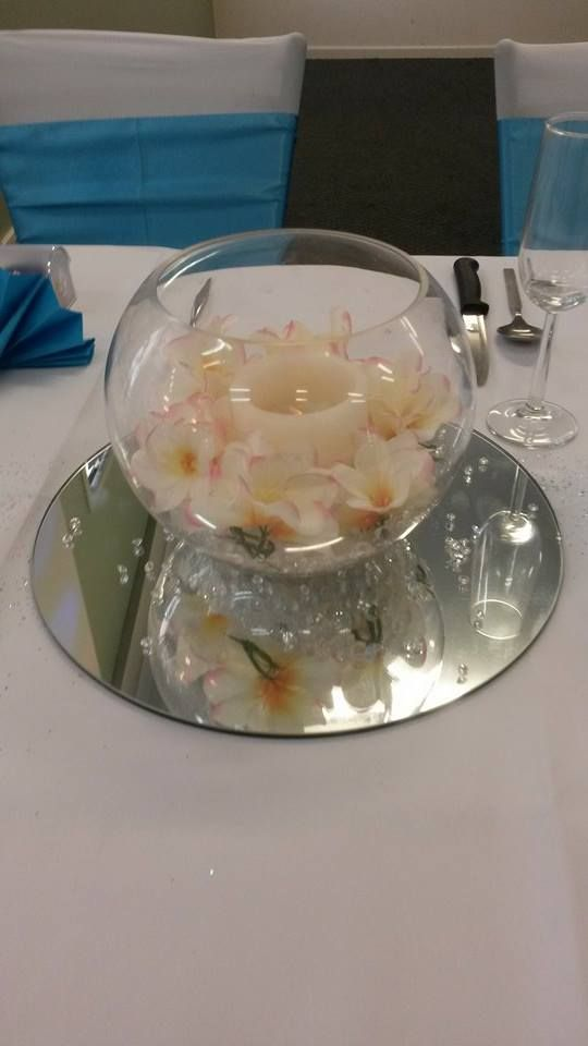 Fish Bowl Vase - with acrylic ice, frangipani heads and LED real wax candle centrepiece - by Toowoomba White Wedding and Event Hire, Weddings, Parties, Corporate Functions {Toowoomba, Surrounding Areas}