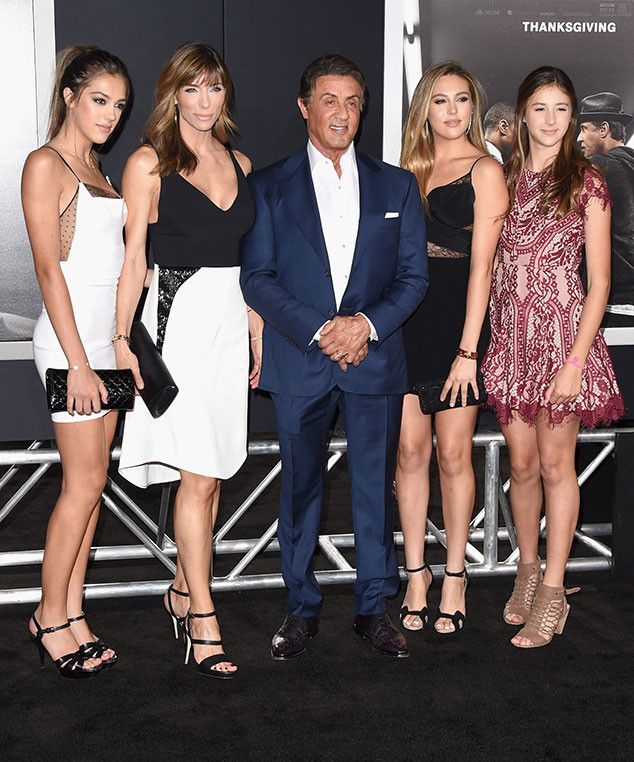 Sylvester Stallone Steps Out on the Red Carpet for Creed With His Three Gorgeous Grown-Up Daughters  Sistine Rose Stallone, Jennifer Flavin, Sylvester Stallone, Sophia Rose Stallone, Scarlet Rose Stallone