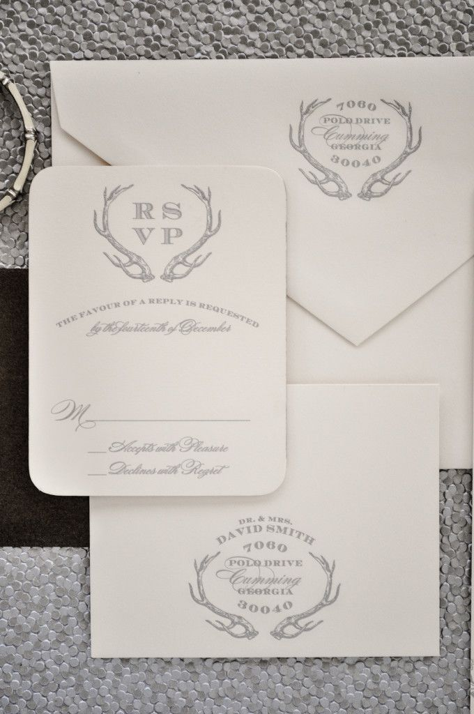 Garden and Gun Themed Wedding Invitations { Southern Wedding, Antlers, Couture Monogram } | Emily McCarthy Weddings