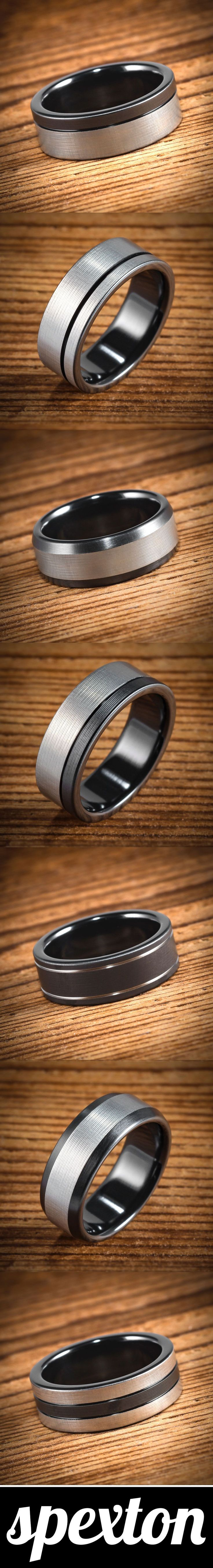 Handmade black and silver men's wedding bands by Spexton.