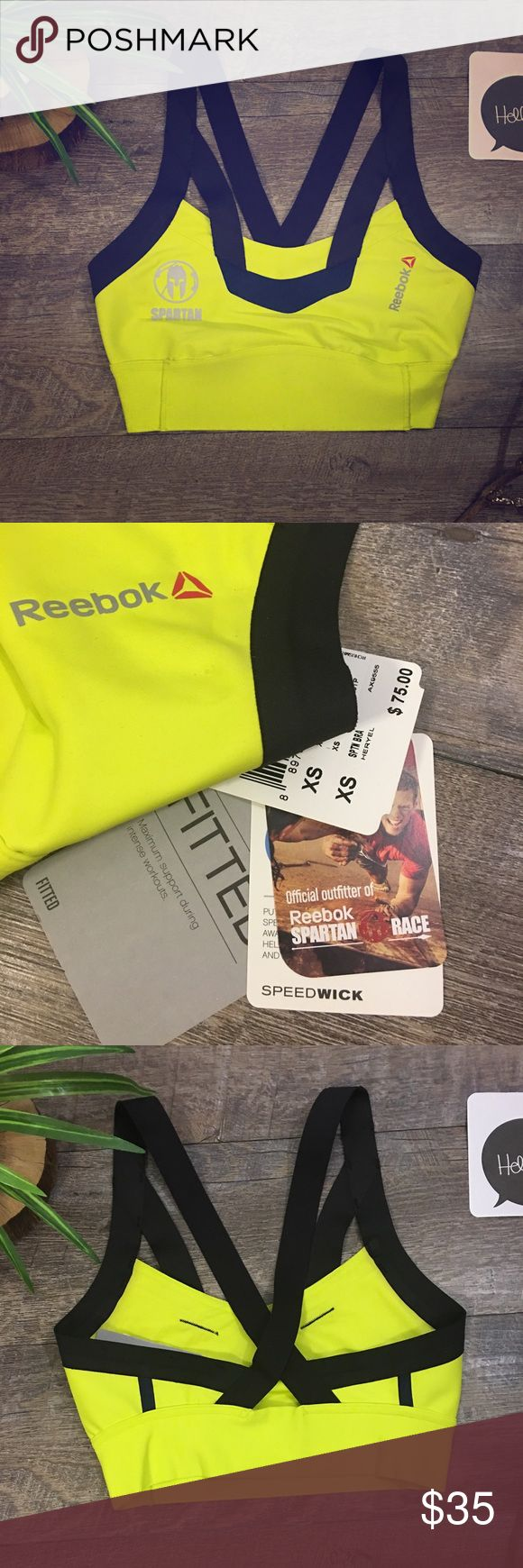 🏃🏼‍♀️SPARTAN RACE REEBOK SPEEDWICK SPORTS BRA NWT Fitted Stretch Spartan Race SPEEDWICK Sports Bra. Test your limits with this neon yellow sports bra sponsored by the popular Spartan Race. It puts sweat in its place by wicking  moisture away from your skin, helping you stay dry and more comfortable all the way to the finish line. Reebok Intimates & Sleepwear Bras