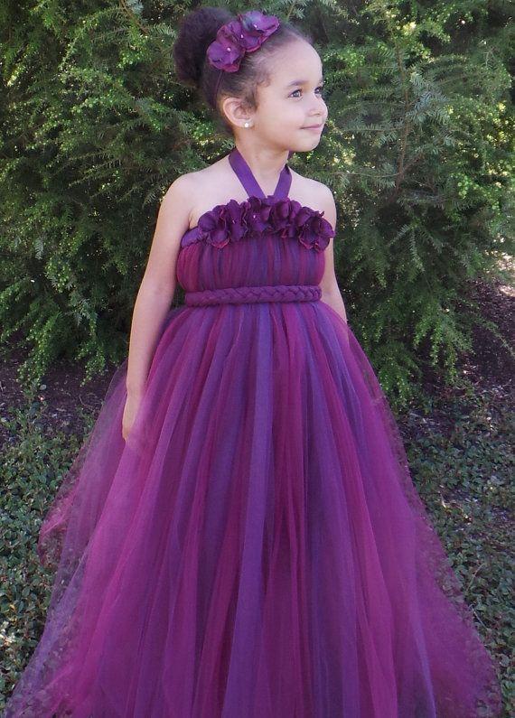 Flower Girl Tutu Dress - Plum Wine - Majestic Magenta - 5-6 Youth Girl - Cutie Patootie Designz on Etsy, $90.00