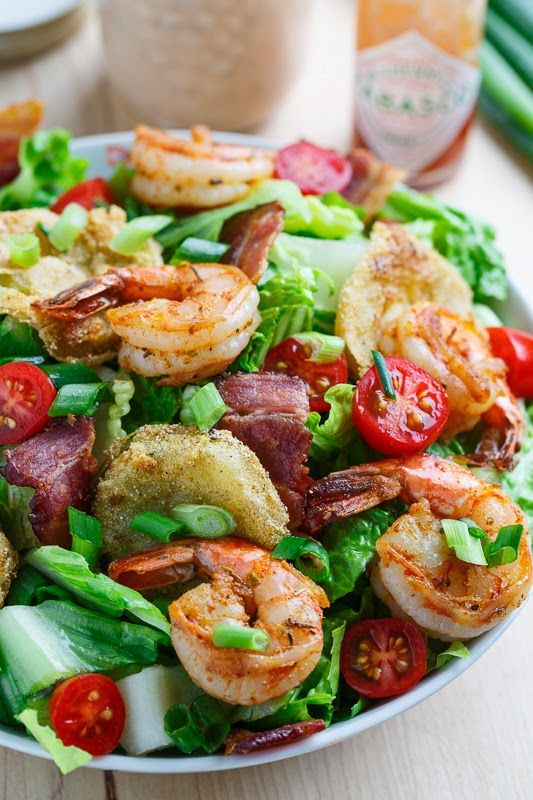 Blackened #Shrimp and Fried Green Tomato Po Boy #Salad tossed in easy to make, spicy and tasty remoulade dressing. #Yum!