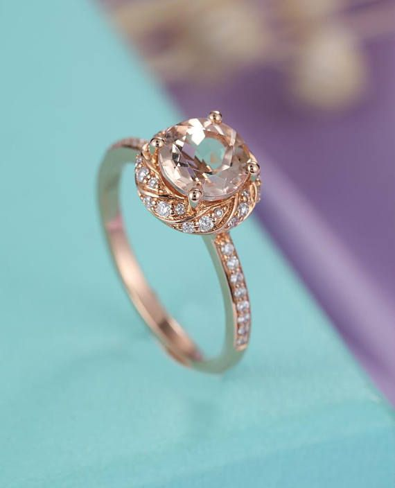 Morganite engagement ring rose gold Art deco, Vintage Unique