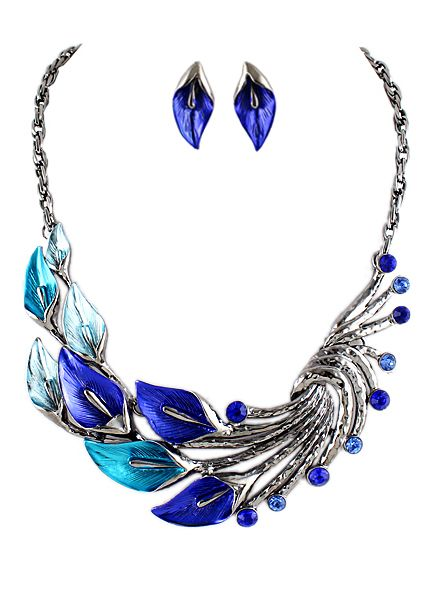 Blue Gemstone Silver Peacock Necklace With Earrings -SheIn(Sheinside)