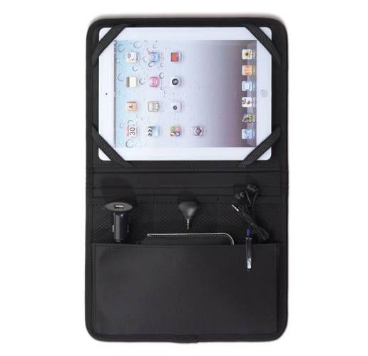 TABLET ORGANIZER MEGA  Tablet organizer da auto completo di accessori: caricatore da auto usb (2100 mA) e spinotto audio. Accessori disponibili in due varianti di colore nero e bianco.