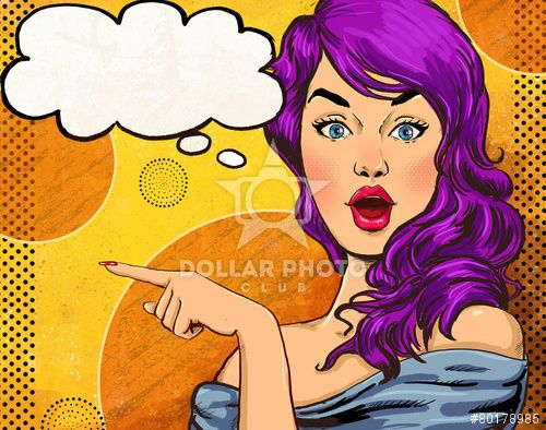 Pop Art illustration of girl with the speech bubble.Fashion
