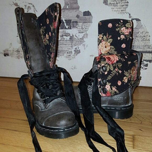 Gun Metal Distressed Leather Doc Martens Boots Size 5 Gun Metal-colored distressed leather Doc Martens boots with floral lining and ribbon laces. In excellent condition! Feel free to ask for more pictures! Doc Martens Shoes Combat & Moto Boots