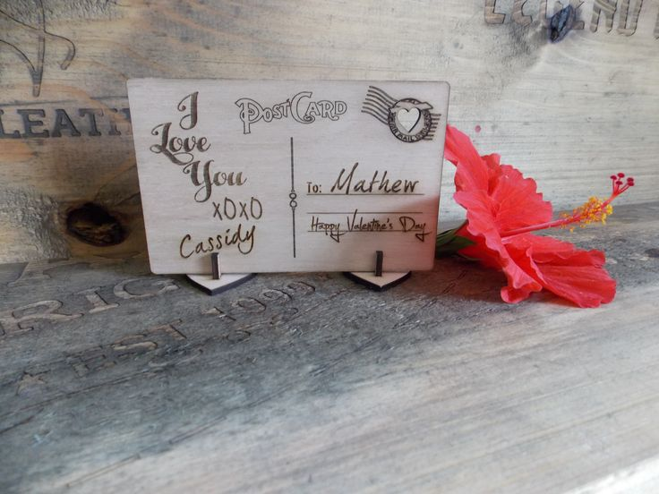 Valentines Month - Laser Cut and Engraved Wooden Standing Post Card - Just add your names.