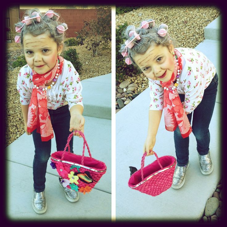 Dressed up as a 100 year-old for her 100th day of school in Kindergarten. She makes a cute granny!