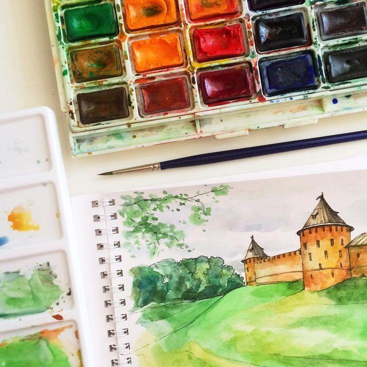 Есть часок порисовать, новая кисть и любимый Великий Новгород на фото