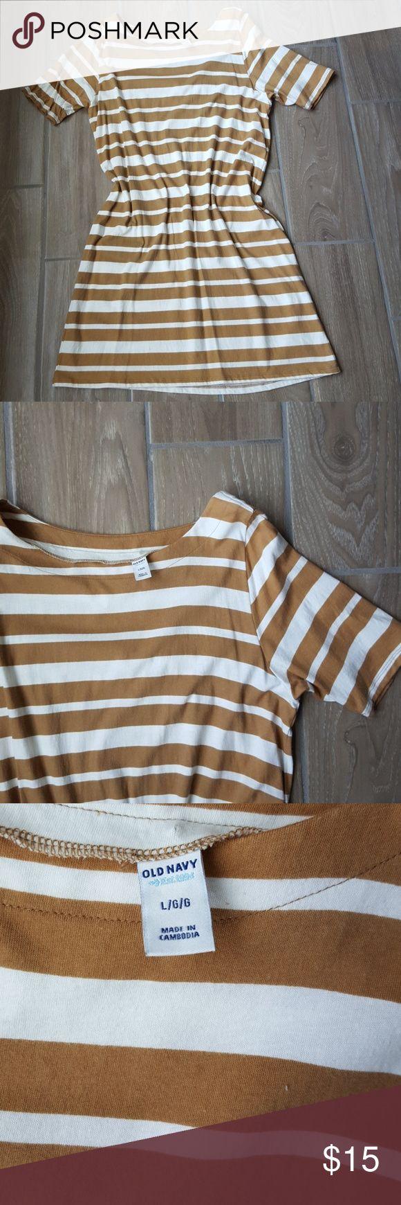 Old Navy boatneck jersey knit dress Striped tan and white, short sleeve, boatneck Old Navy Dresses Midi
