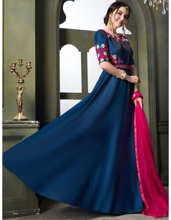 404d9c9729 Prussian Blue Satin Silk Anarkali with Net Dupatta in 2019 ...
