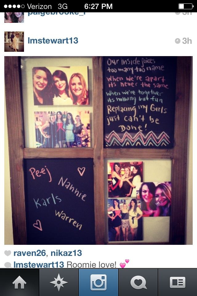 best friend picture frame and message board made out of an old window frame