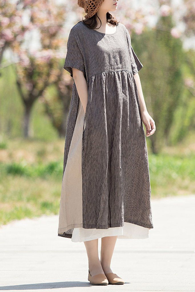 2746101a452 Fashion Striped Quilted Drawstring Linen Women Dress Q1459 in 2019 ...