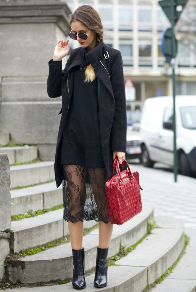 @roressclothes closet ideas #women fashion Sexy Black Lace Skirt Outfit Idea for Fall