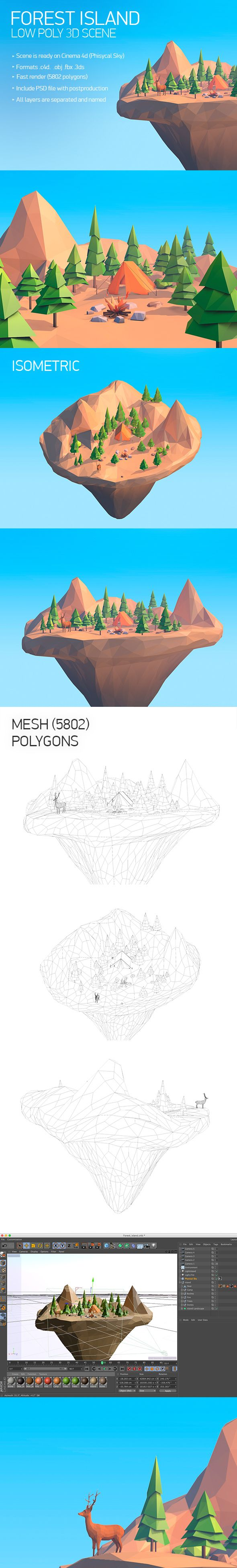 Low Poly Forest island 3D Models Design Template #cinema4d #3D #3dDesign Download here: https://3docean.net/item/forest-island/14656961?ref=yinkira