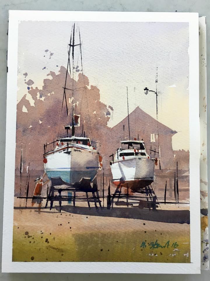 Iain Stewart Boats on Sticks. Plein air demo for MISA.