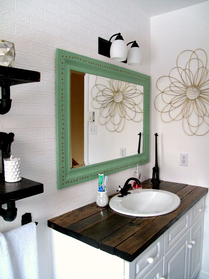 Awesome Websites Rustic wood vanity DIY Wood Counter Top bathroom makeover budget farmhouse rustic