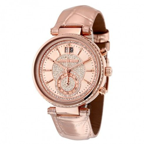 Michael Kors Sawyer Rose Gold Crystal Pave Dial Leather Ladies Watch MK2445