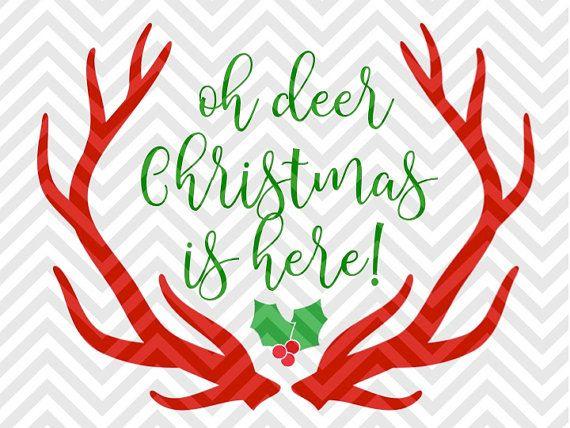 Oh Deer Christmas is Here Mistletoe santa elves rudolph reindeer printable SVG file - Cut File - Cricut projects - cricut ideas - cricut explore - silhouette cameo projects - Silhouette projects SVG and DXF by KristinAmandaDesigns