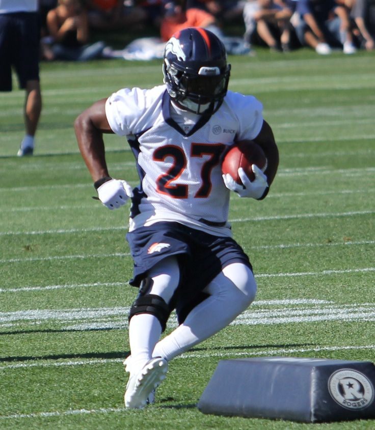 #kneebrace #sports Denver Broncos running back Knowshon Moreno, seen here wearing a knee brace on the first day of the team's training camp,
