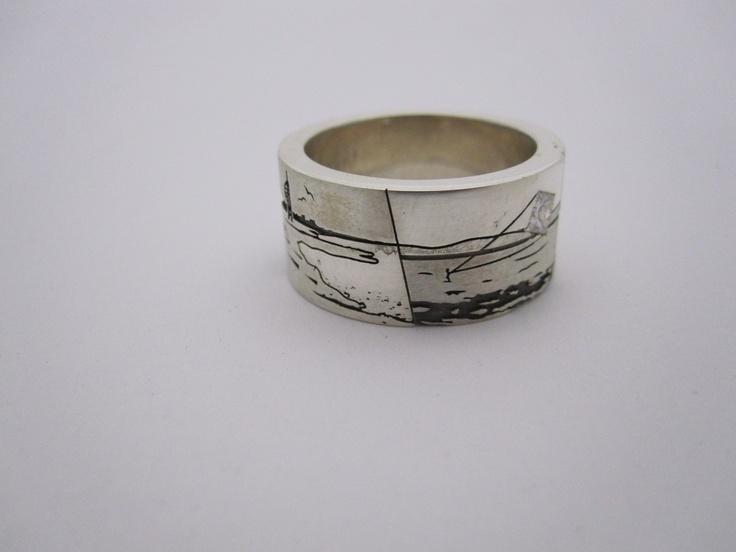New zealand coast line  wedding ring by seventysixdesign