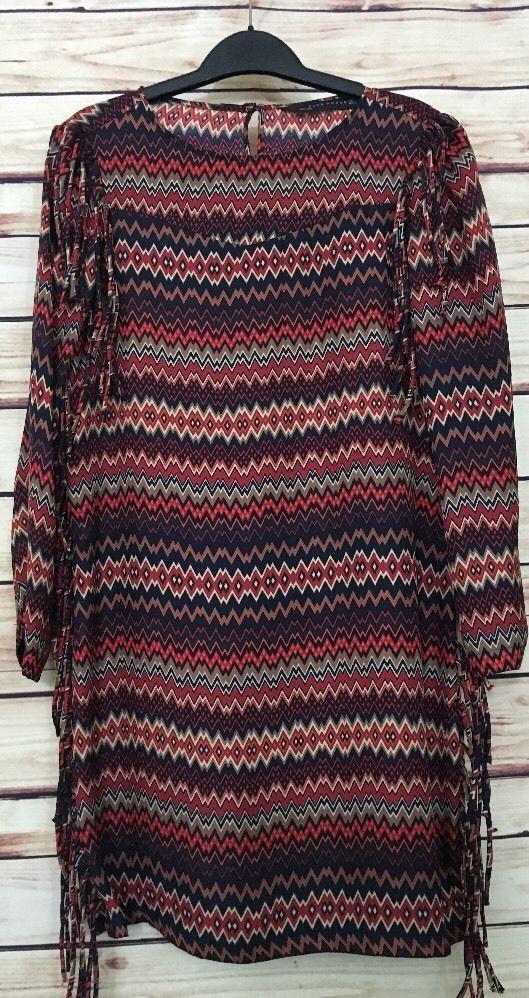 Zara Woman shift dress Ikat print size Small fringe casual work #Zara #ShiftDress #Casual