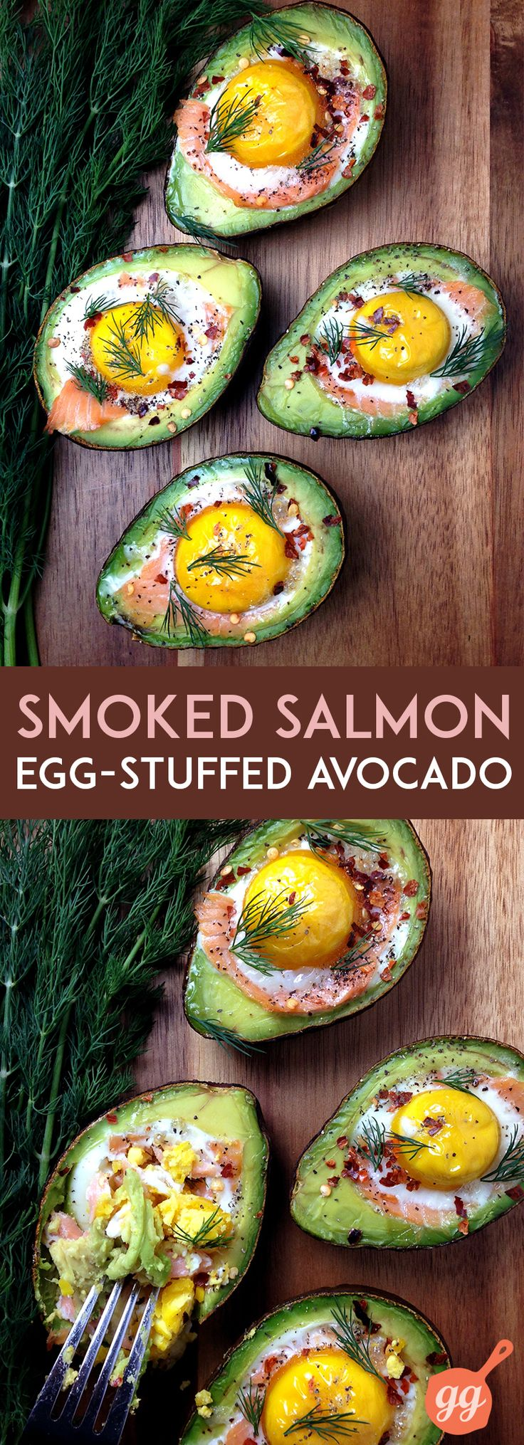 Smoked Salmon Egg Stuffed Avocado | GrokGrub.com #breakfast #healthy #omega3 http://freshplanetflavor.com/smoked-salmon-egg-stuffed-avocados/