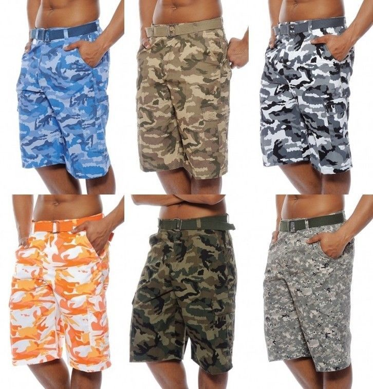 Details about Men's TRUE ROCK cargo camo digital shorts green blue ...