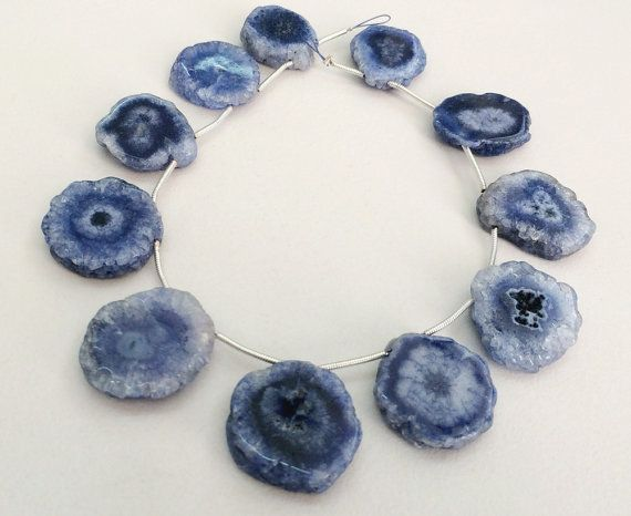 Indigo Blue Solar Quartz Stalactite Slice Natural by gemsforjewels
