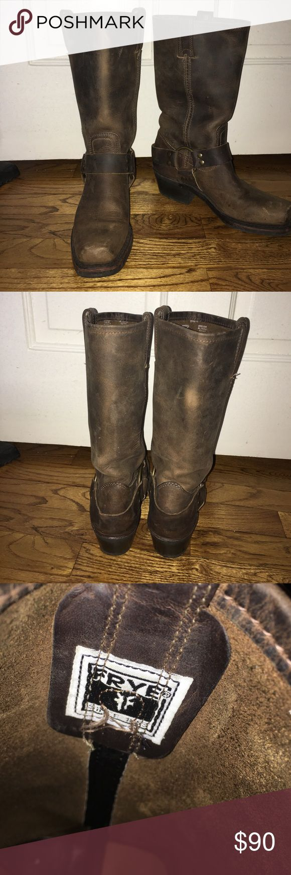 Frye riding boots! Love these guys- selling because I upgraded to a new pair and rarely wear these ones. They are well loved so some obvious wear and tear but broken in just for you! Leather and high quality. Lovely addition to any wardrobe! Size 5.5 but fit like a 6. Frye Shoes Winter & Rain Boots