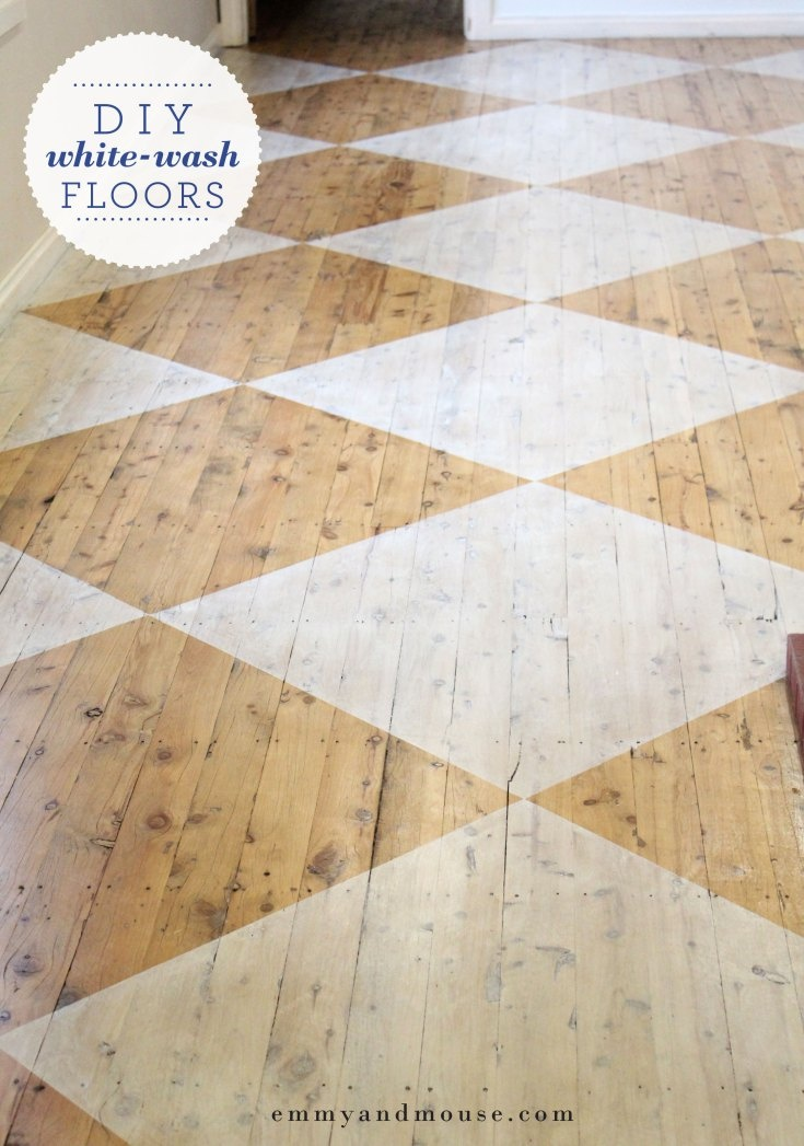 Just love this idea. So many options. Mind racing!!! DIY white-washed patten floorboards in our sunroom