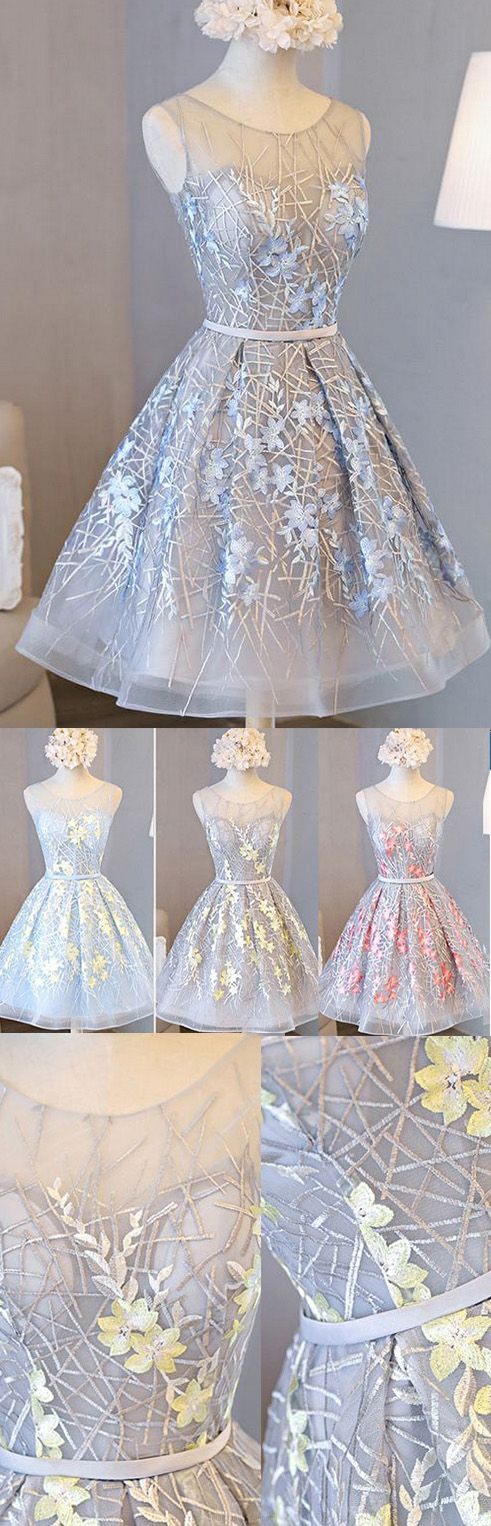 Lace Prom Dresses 2017, Prom Dresses 2017, Short Prom Dresses, 2017 Prom Dresses, Lace Prom Dresses, Prom Dresses Short, Beautiful Prom Dresses, Homecoming Dresses 2017, Short Homecoming Dresses, Silver Homecoming Dresses, 2017 Homecoming Dress Beautiful Silver Lace Scoop Short Prom Dress Party Dress